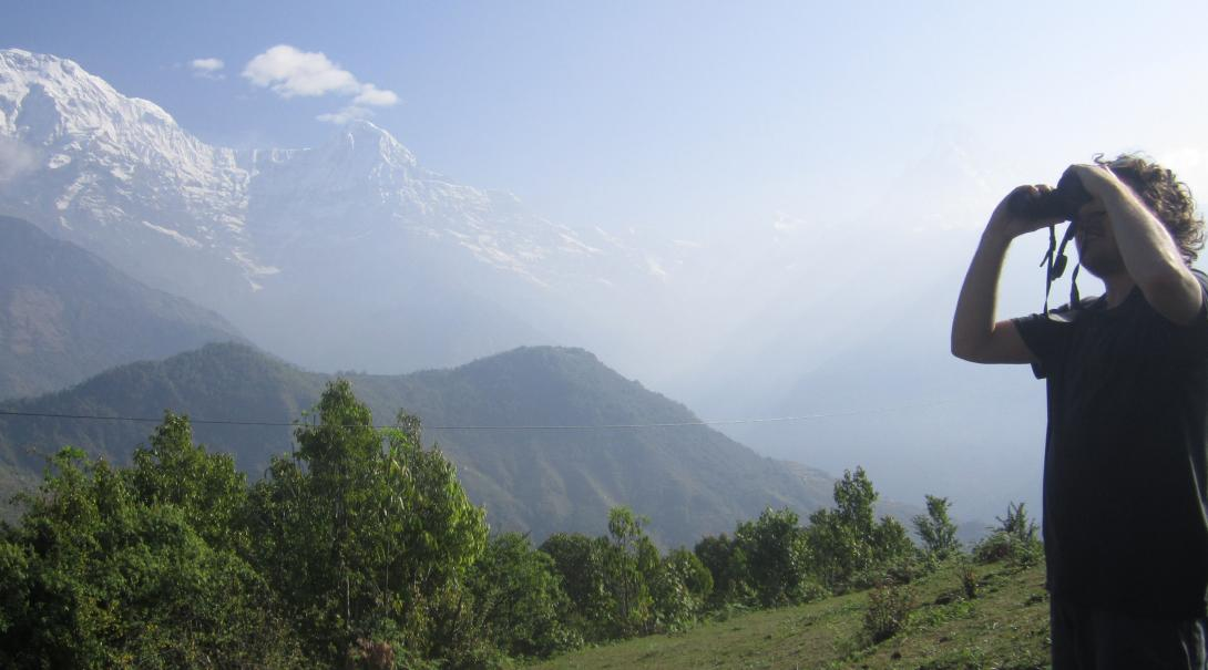 Conservation volunteer in Nepal in the field